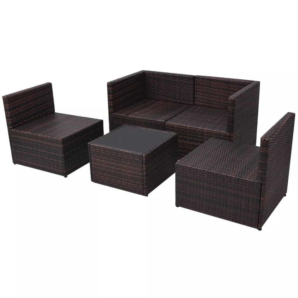5 Piece Garden Lounge Set with Cushions Poly Rattan Brown 7