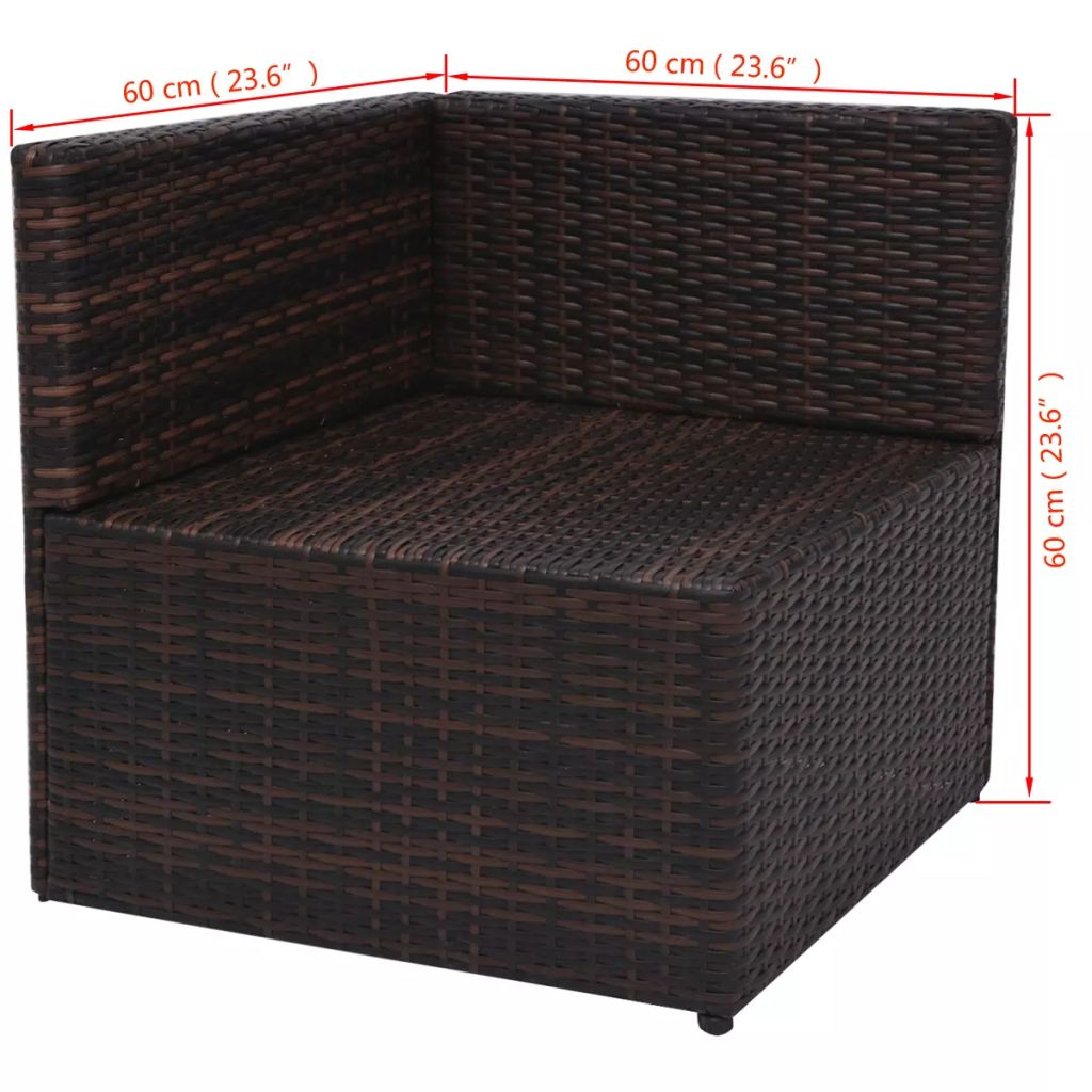 5 Piece Garden Lounge Set with Cushions Poly Rattan Brown 11
