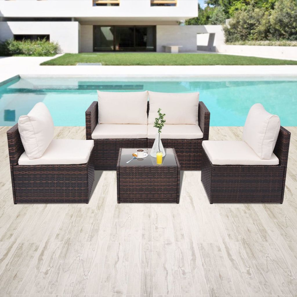 5 Piece Garden Lounge Set with Cushions Poly Rattan Brown 1