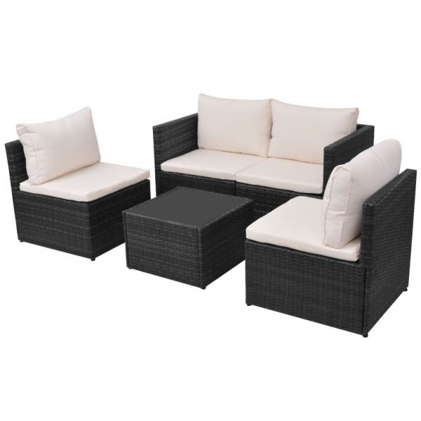 5 Piece Garden Lounge Set with Cushions Poly Rattan Black 3