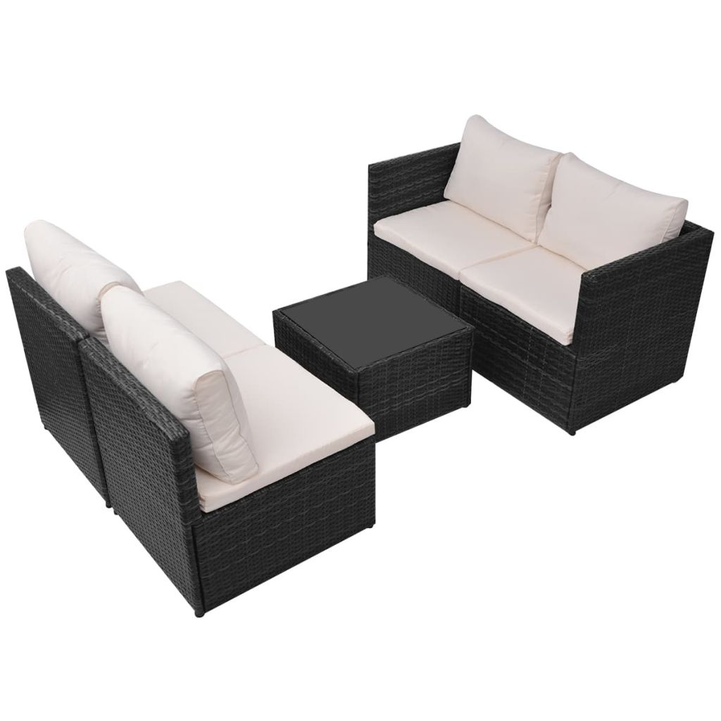 5 Piece Garden Lounge Set with Cushions Poly Rattan Black 6