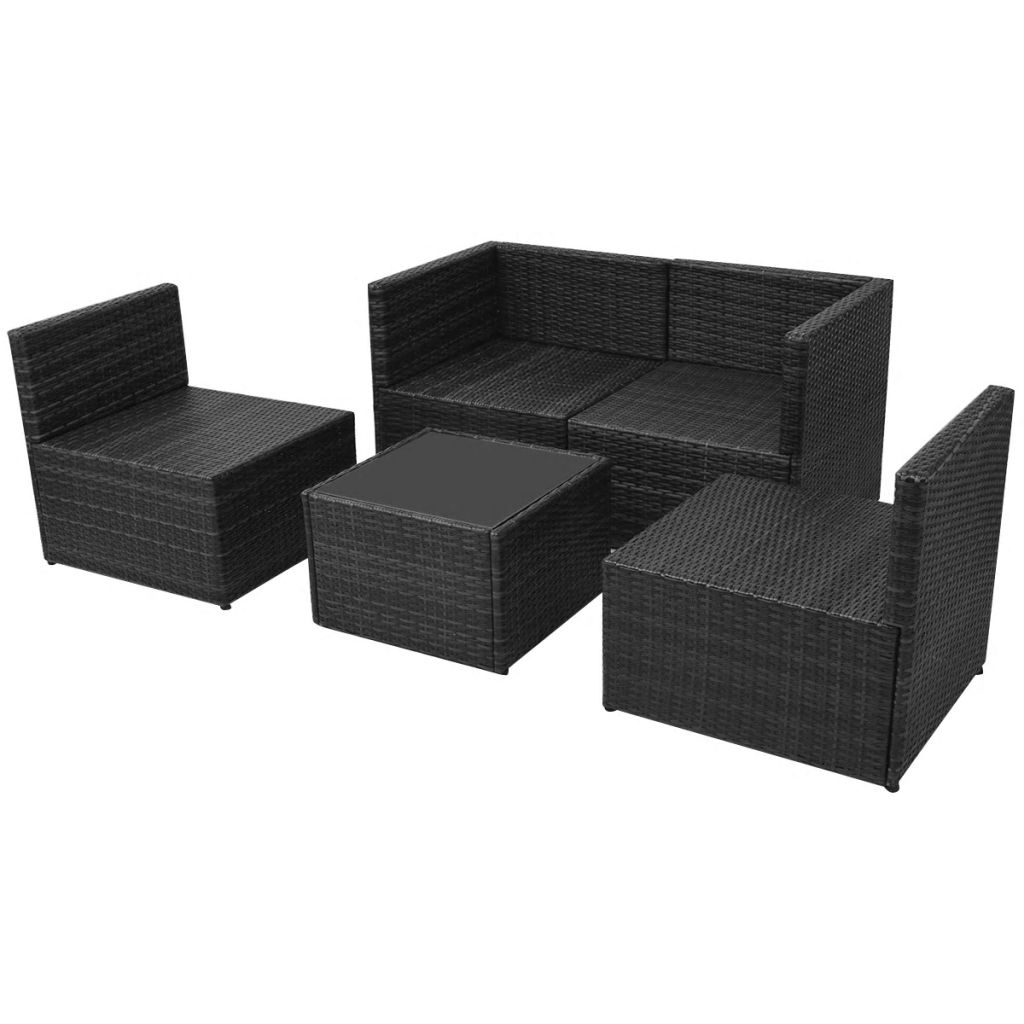 5 Piece Garden Lounge Set with Cushions Poly Rattan Black 7