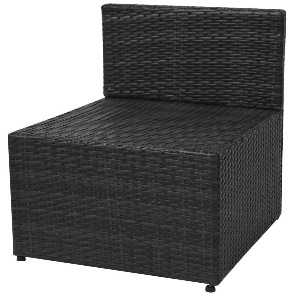 5 Piece Garden Lounge Set with Cushions Poly Rattan Black 9