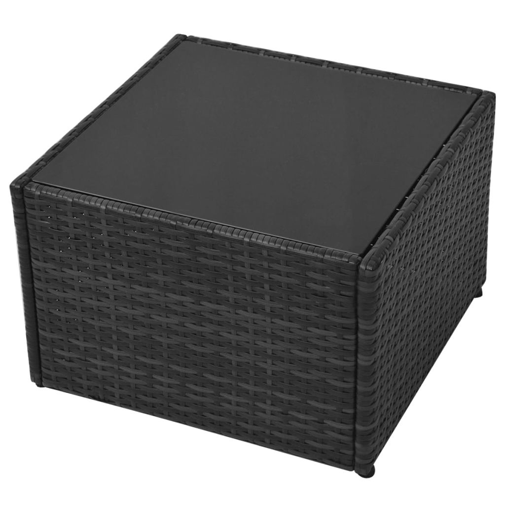 5 Piece Garden Lounge Set with Cushions Poly Rattan Black 10