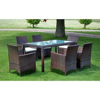 7 Piece Outdoor Dining Set with Cushions Poly Rattan Brown 1