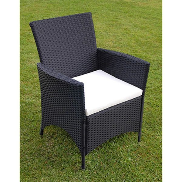 7 Piece Outdoor Dining Set with Cushions Poly Rattan Black 3