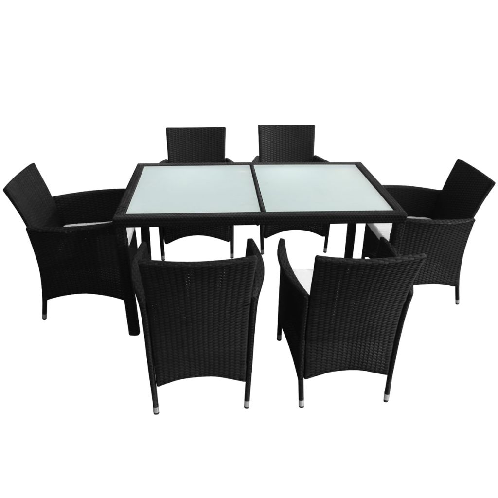 7 Piece Outdoor Dining Set with Cushions Poly Rattan Black 4