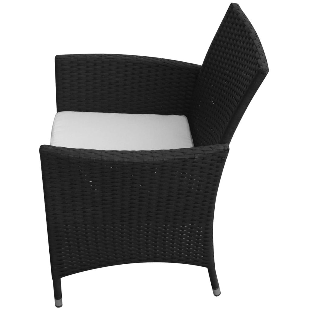 7 Piece Outdoor Dining Set with Cushions Poly Rattan Black 5