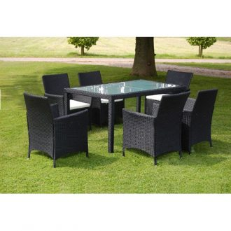 7 Piece Outdoor Dining Set with Cushions Poly Rattan Black 1