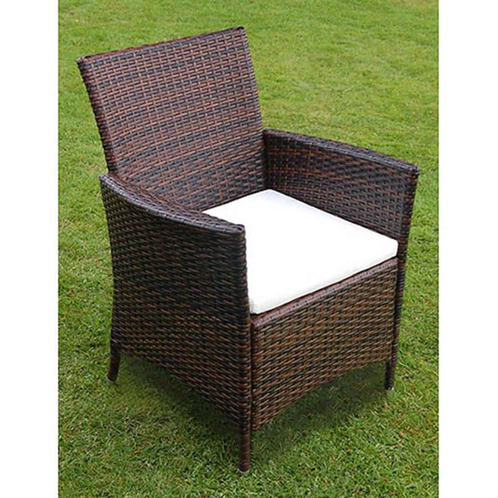 5 Piece Outdoor Dining Set with Cushions Poly Rattan Brown 4