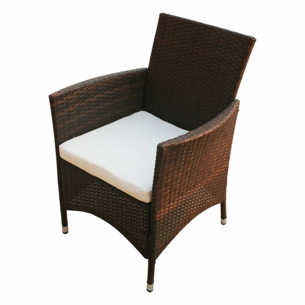 5 Piece Outdoor Dining Set with Cushions Poly Rattan Brown 8