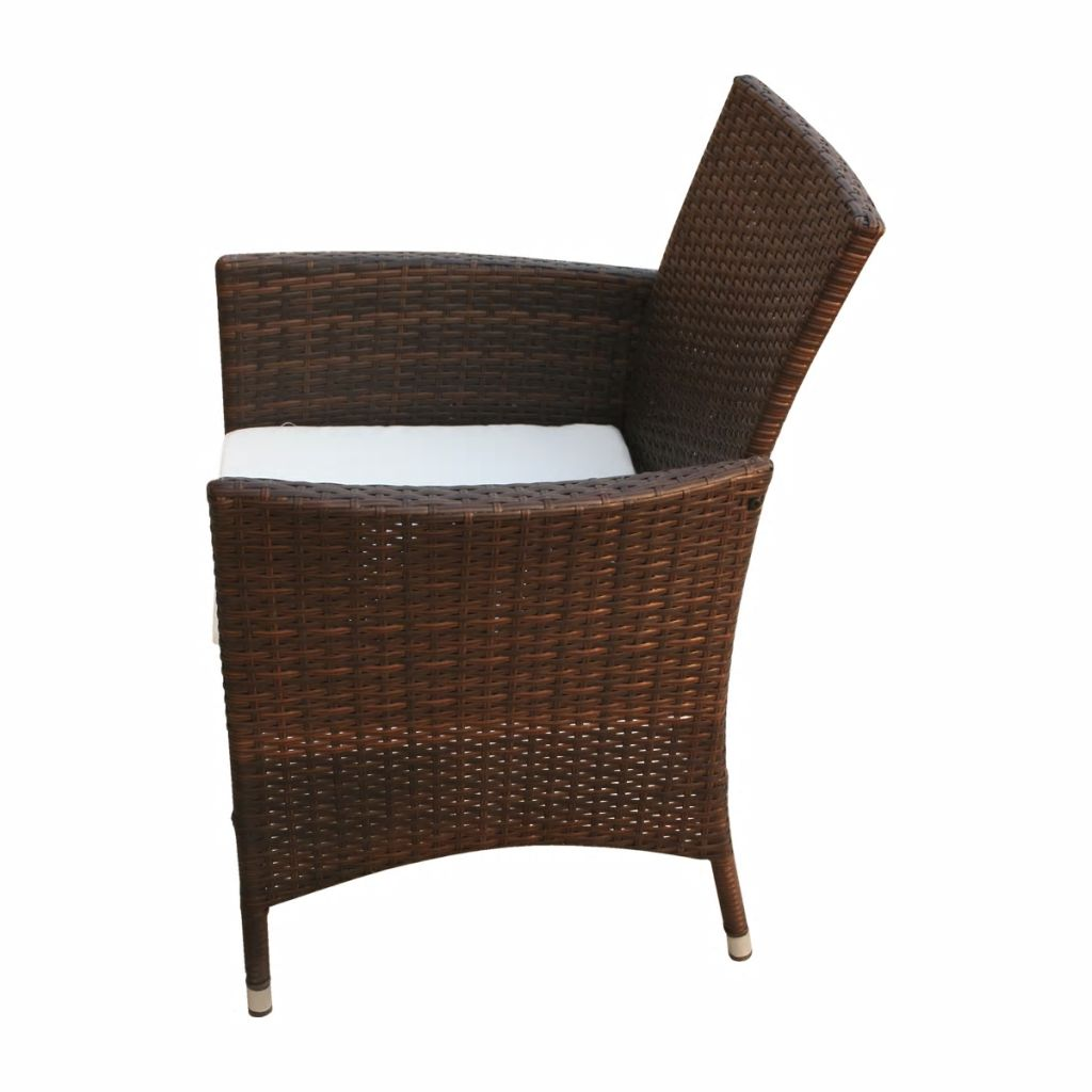 5 Piece Outdoor Dining Set with Cushions Poly Rattan Brown 9
