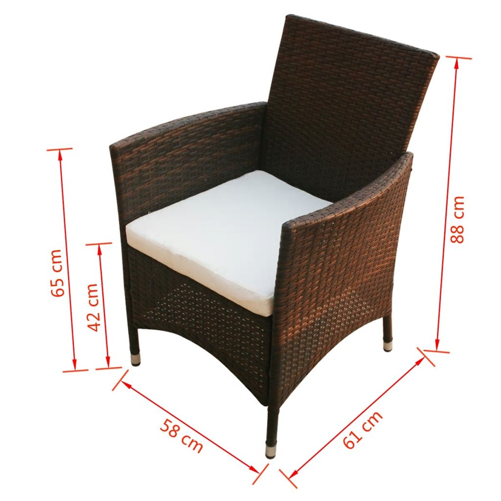 5 Piece Outdoor Dining Set with Cushions Poly Rattan Brown 11