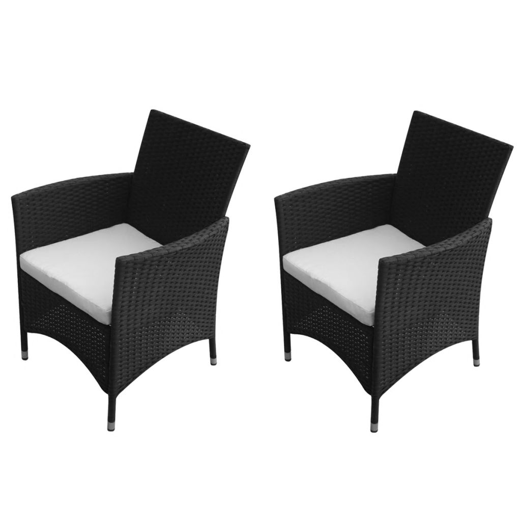 Garden Chairs 2 pcs Poly Rattan Black 1