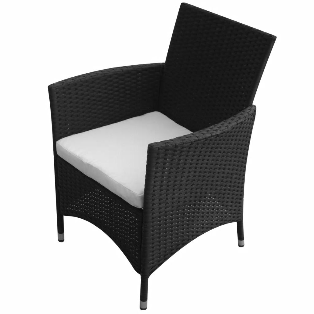 Garden Chairs 2 pcs Poly Rattan Black 2