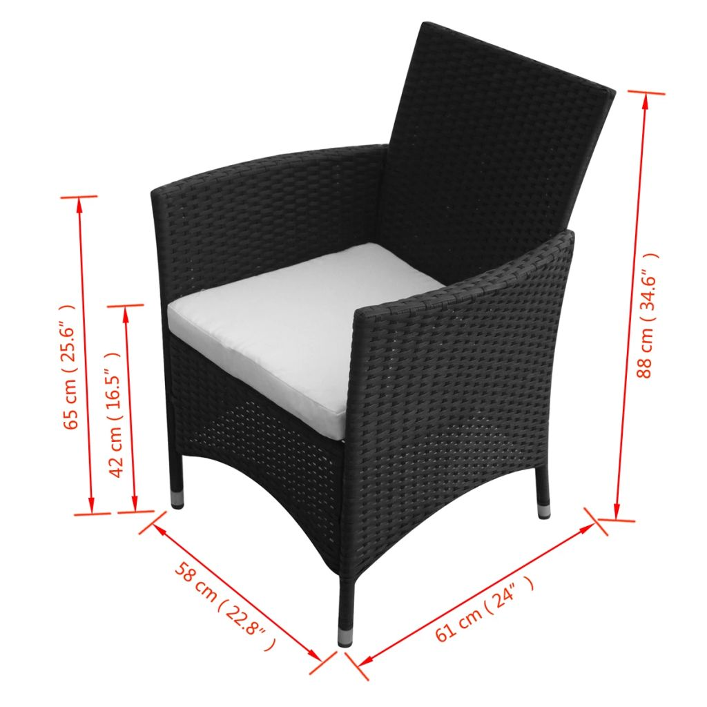 Garden Chairs 2 pcs Poly Rattan Black 5