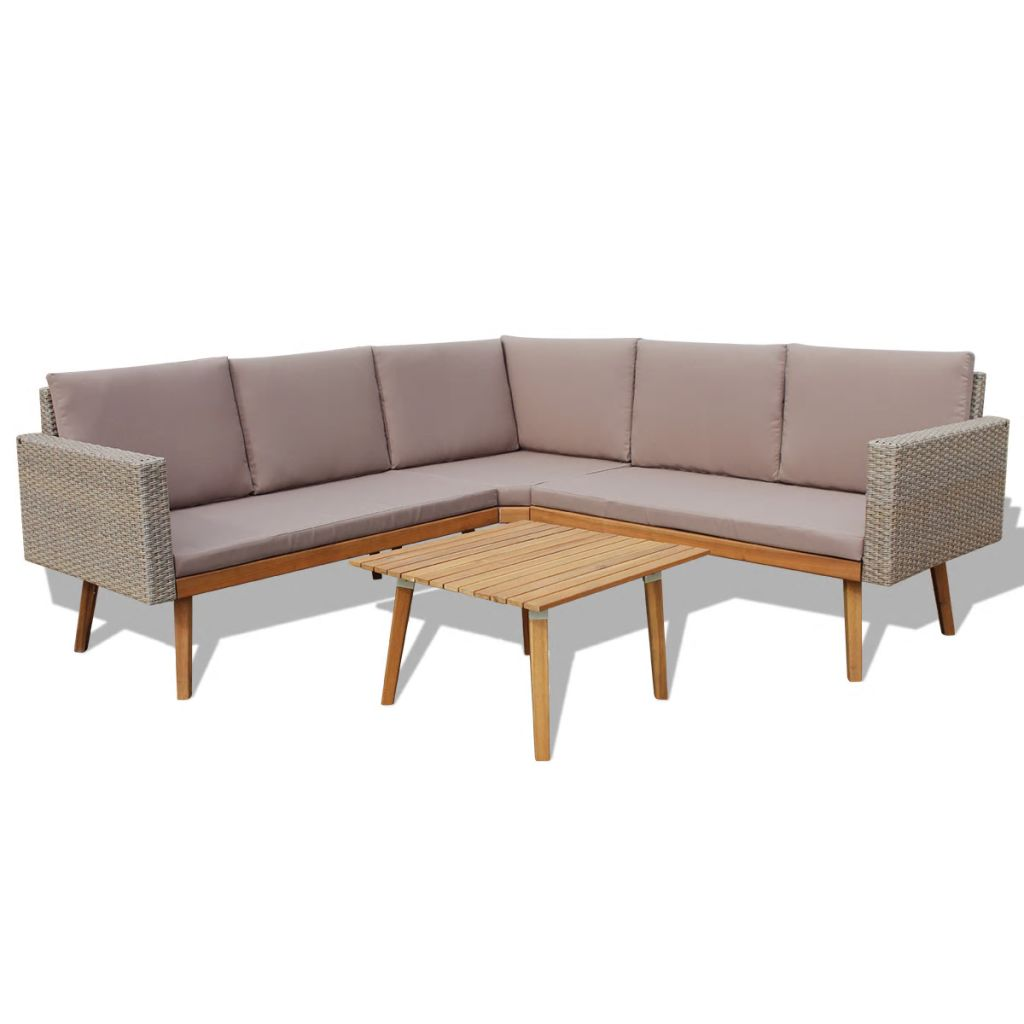 4 Piece Garden Lounge Set with Cushions Poly Rattan Grey 2