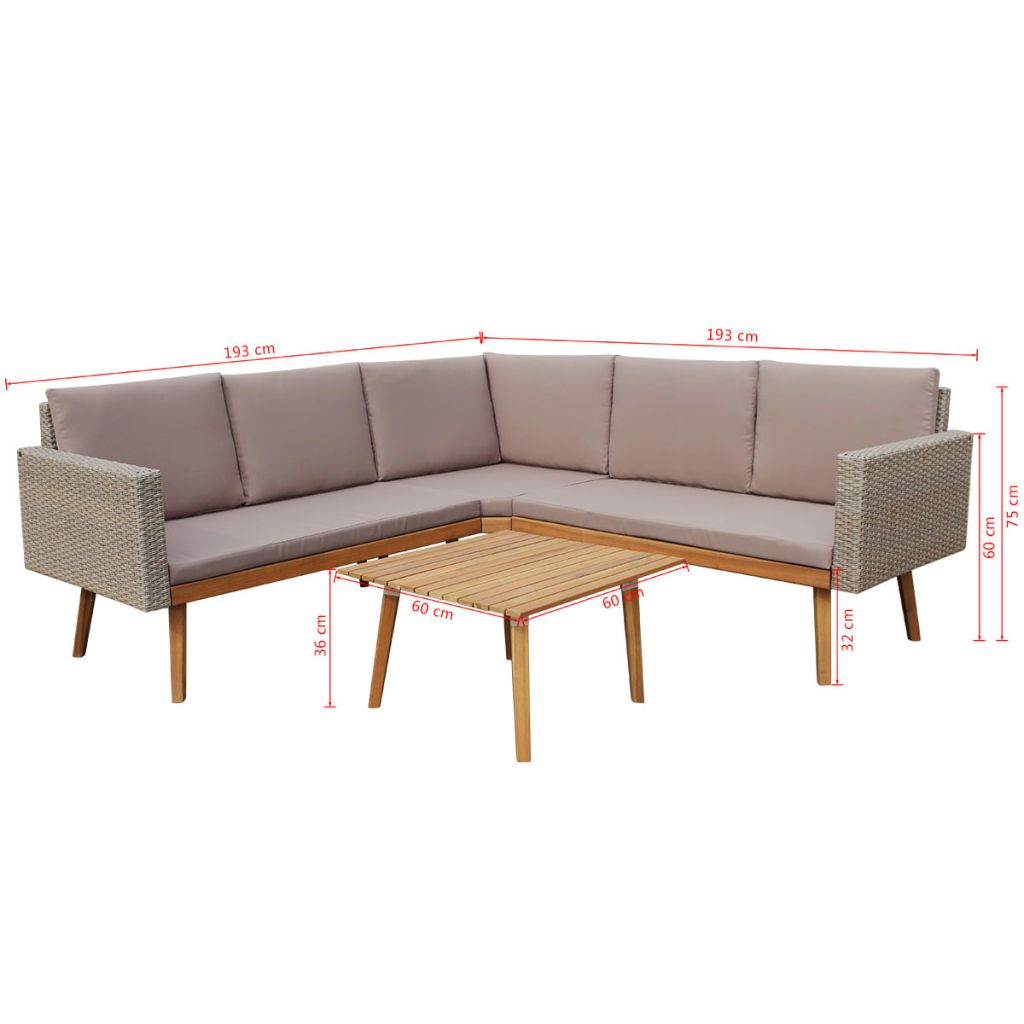 4 Piece Garden Lounge Set with Cushions Poly Rattan Grey 8