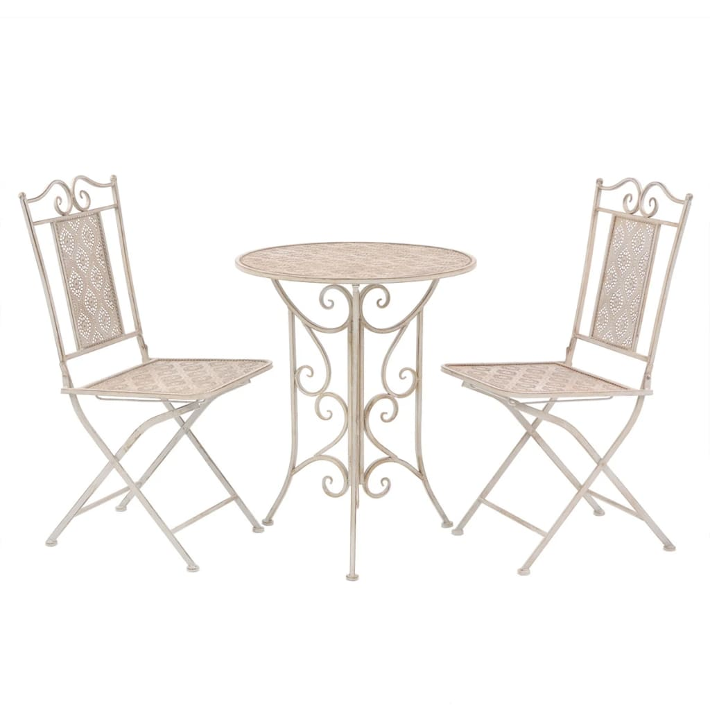 3 Piece Bistro Set Steel White