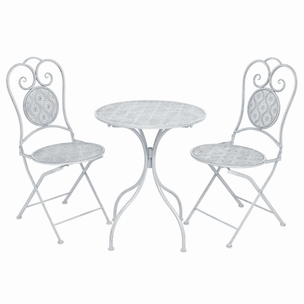 3 Piece Bistro Set Steel White 1