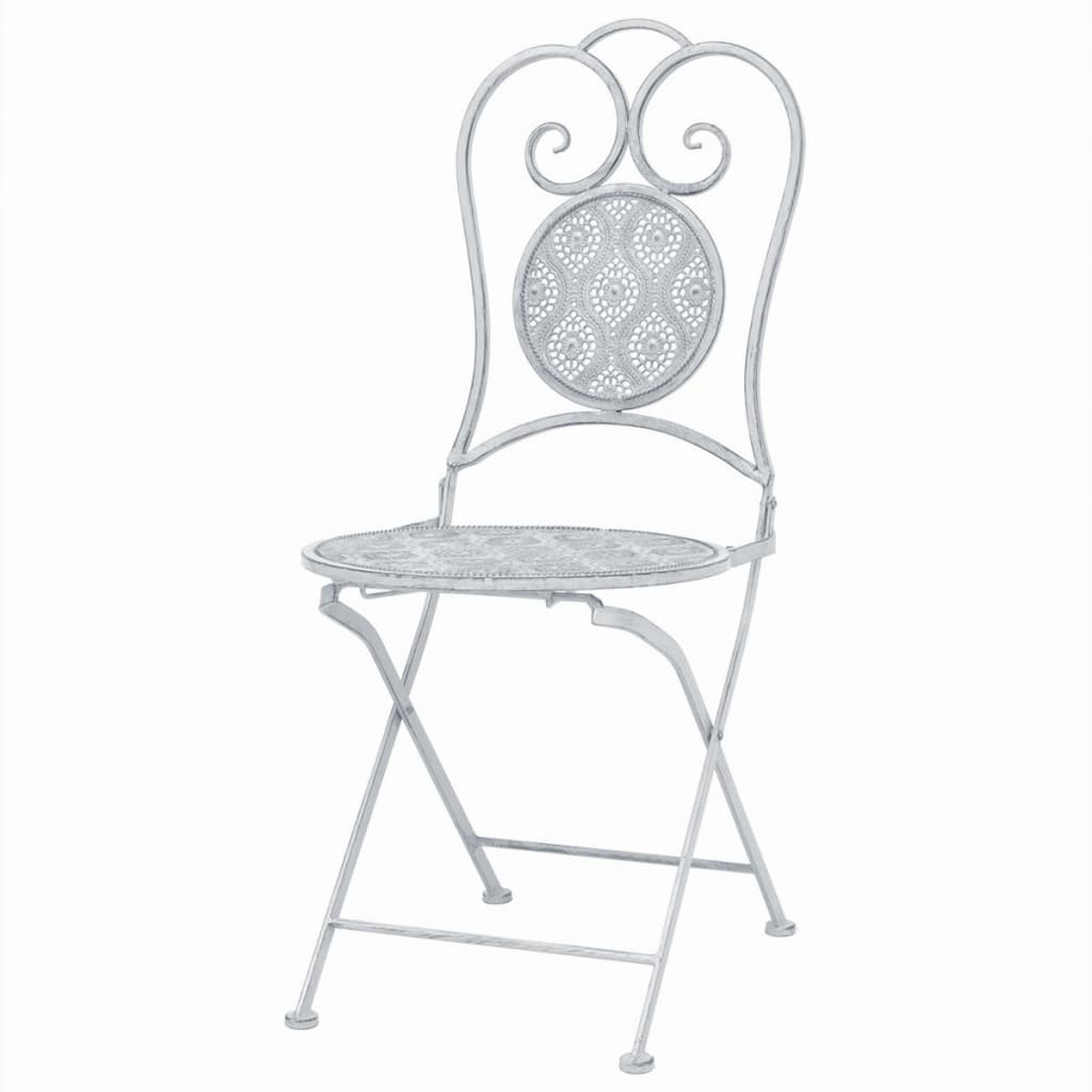 3 Piece Bistro Set Steel White 4