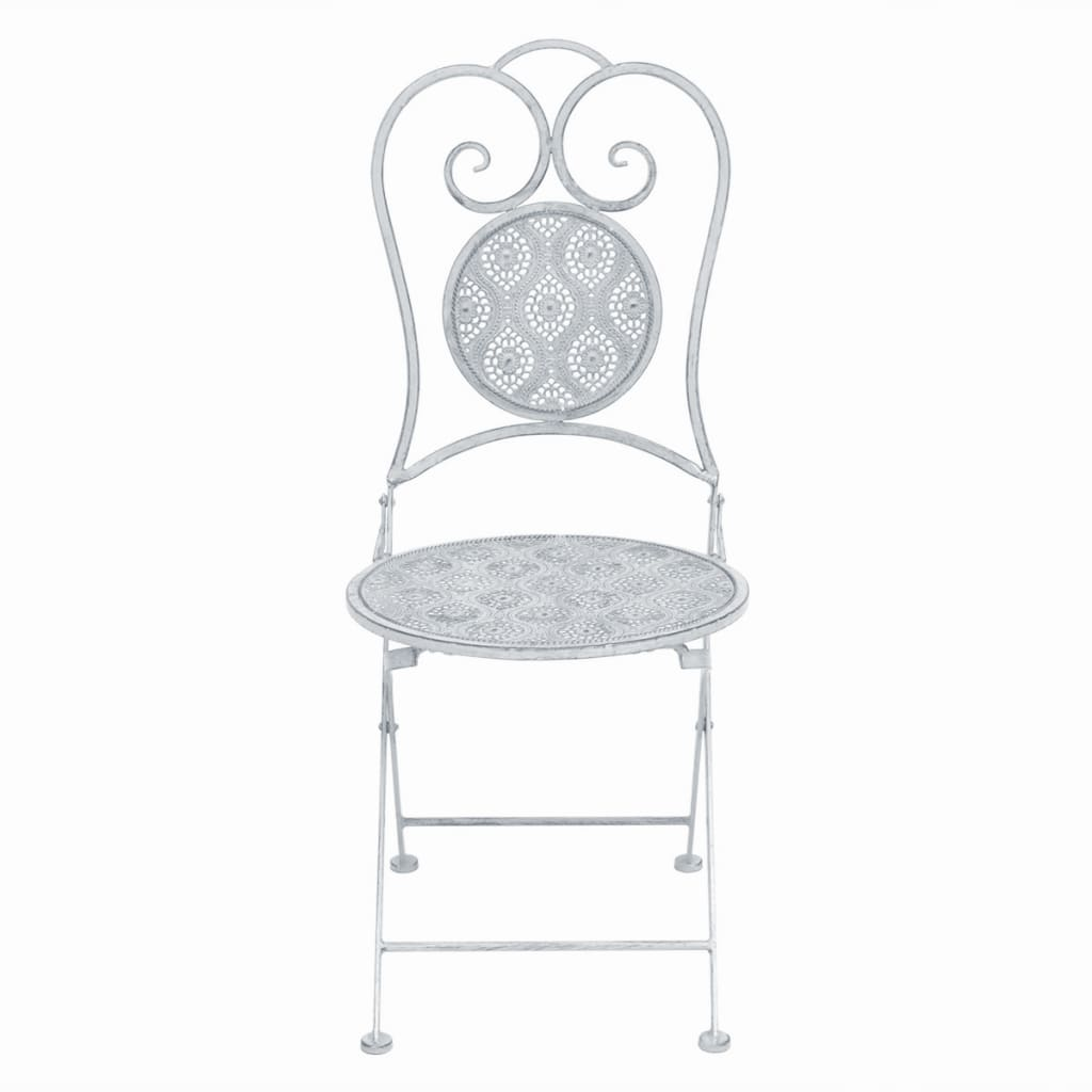 3 Piece Bistro Set Steel White 5