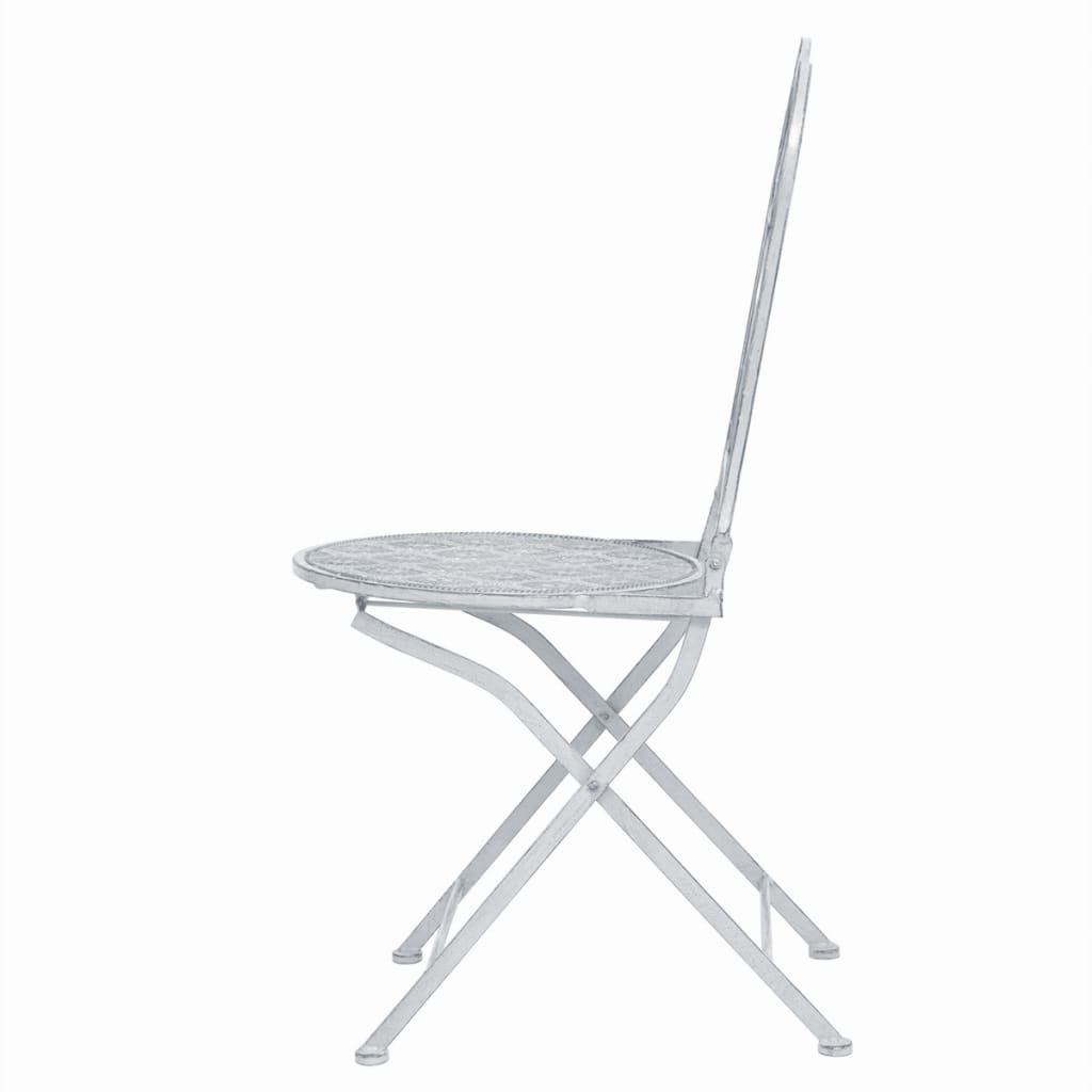 3 Piece Bistro Set Steel White 6