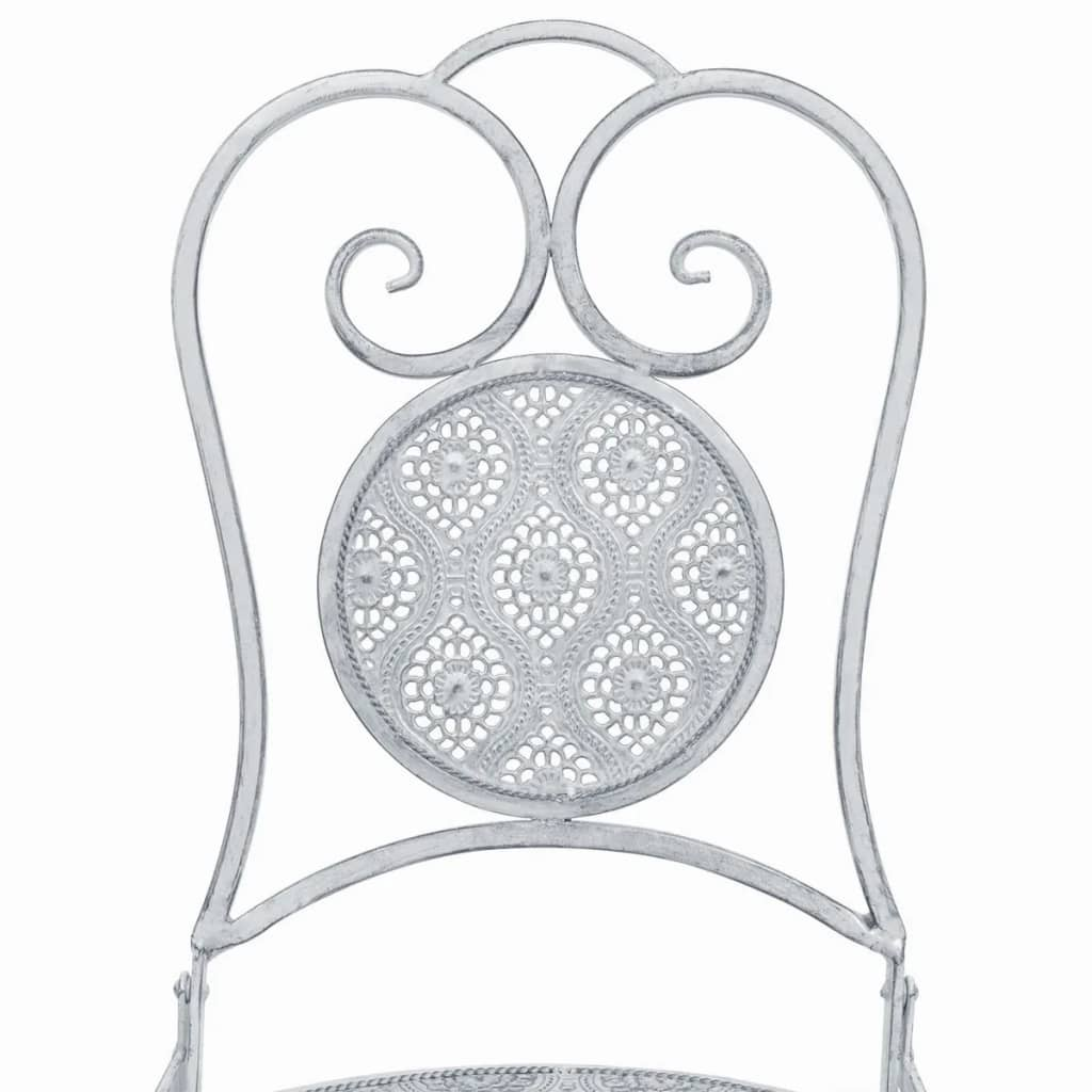 3 Piece Bistro Set Steel White 7