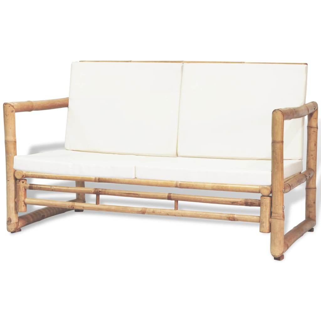 2 Seater Garden Sofa with Cushions Bamboo 1