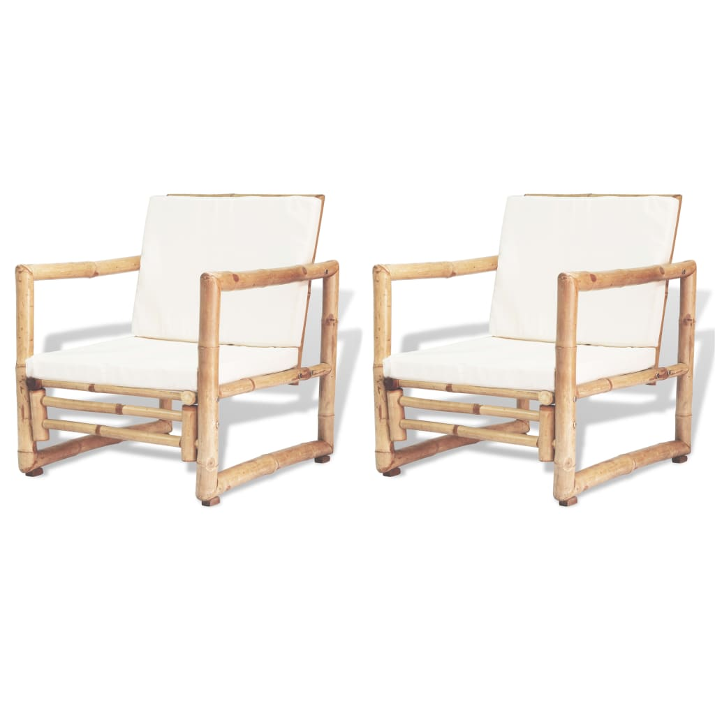 Garden Chairs 2 pcs with Cushions and Pillows Bamboo 1