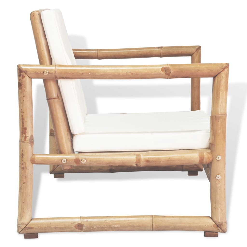 Garden Chairs 2 pcs with Cushions and Pillows Bamboo 4