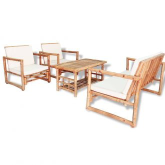 4 Piece Garden Lounge Set with Cushions Bamboo 1