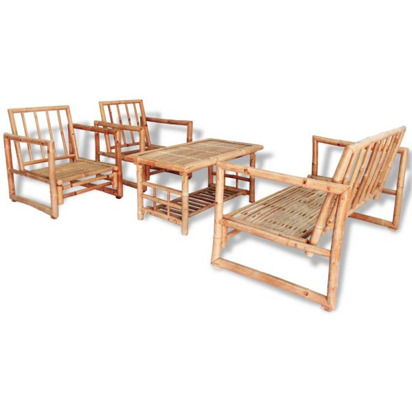 4 Piece Garden Lounge Set with Cushions Bamboo 2
