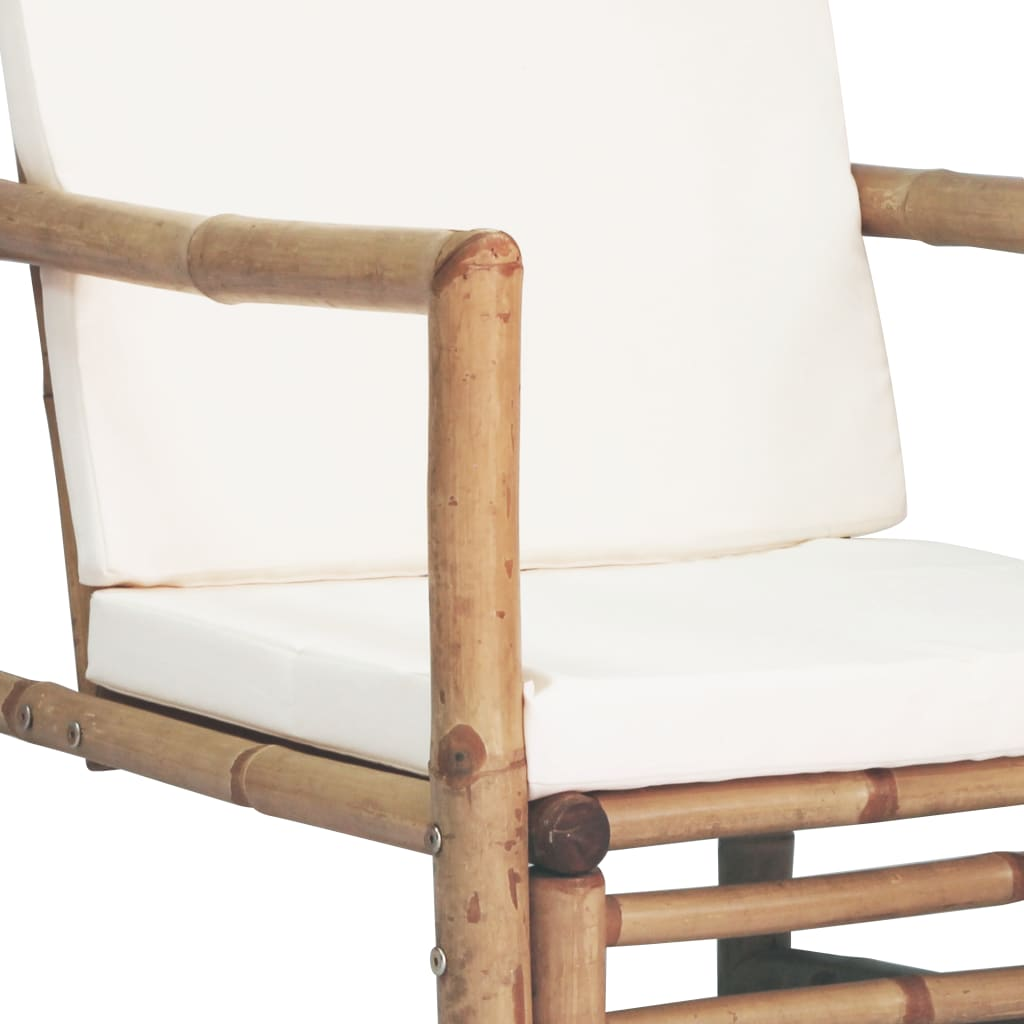 4 Piece Garden Lounge Set with Cushions Bamboo 8