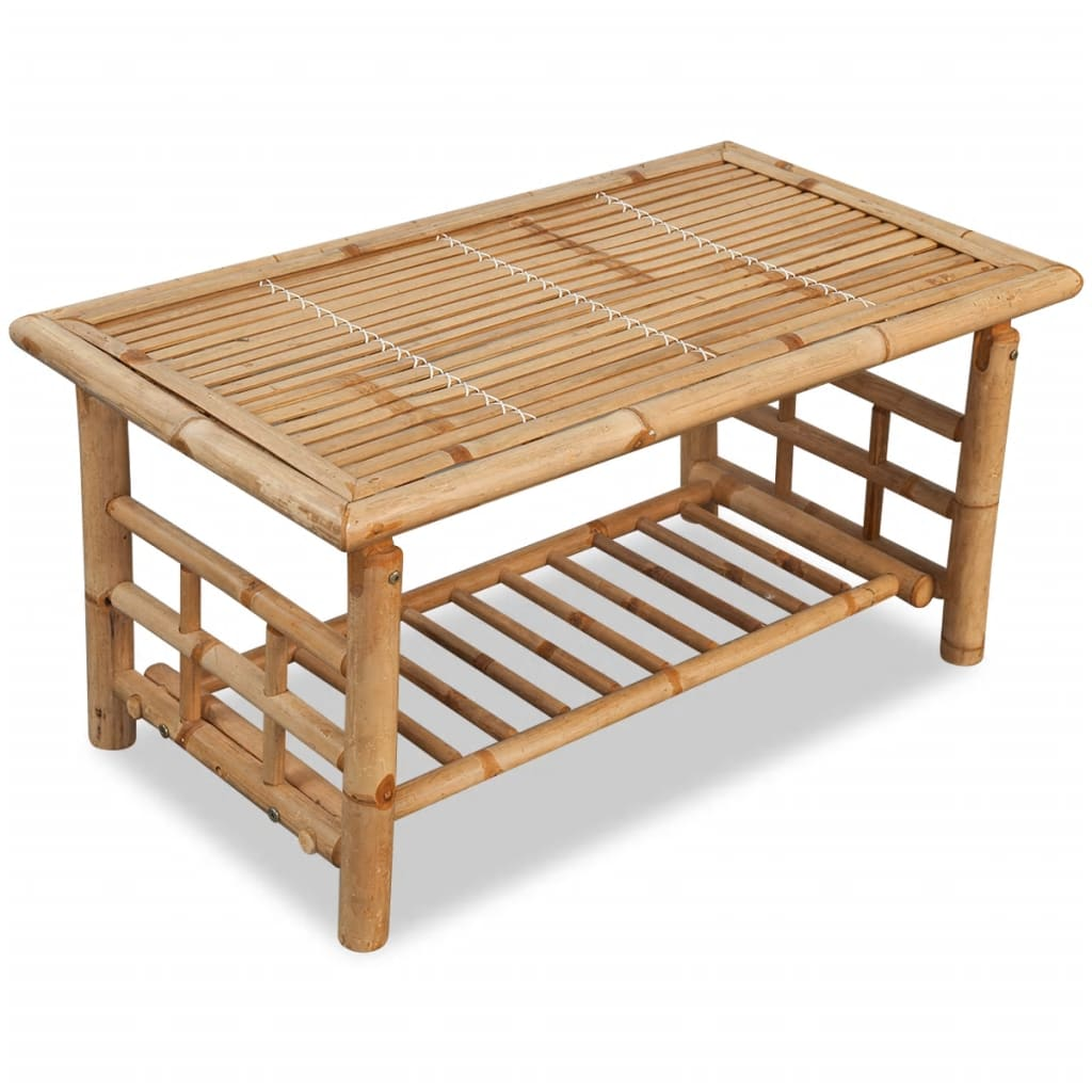4 Piece Garden Lounge Set with Cushions Bamboo 9