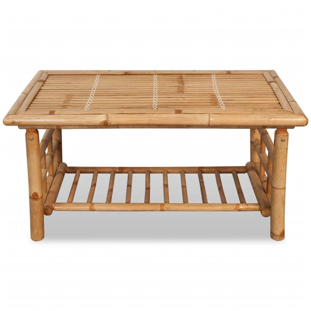 4 Piece Garden Lounge Set with Cushions Bamboo 10
