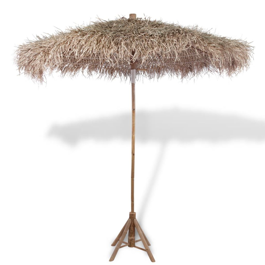 Bamboo Parasol with Banana Leaf Roof 210 cm 1