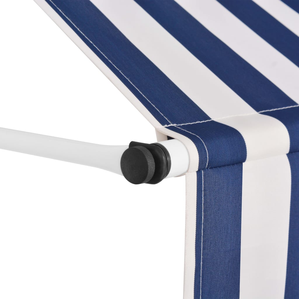 Manual Retractable Awning 150 cm Blue and White Stripes 3