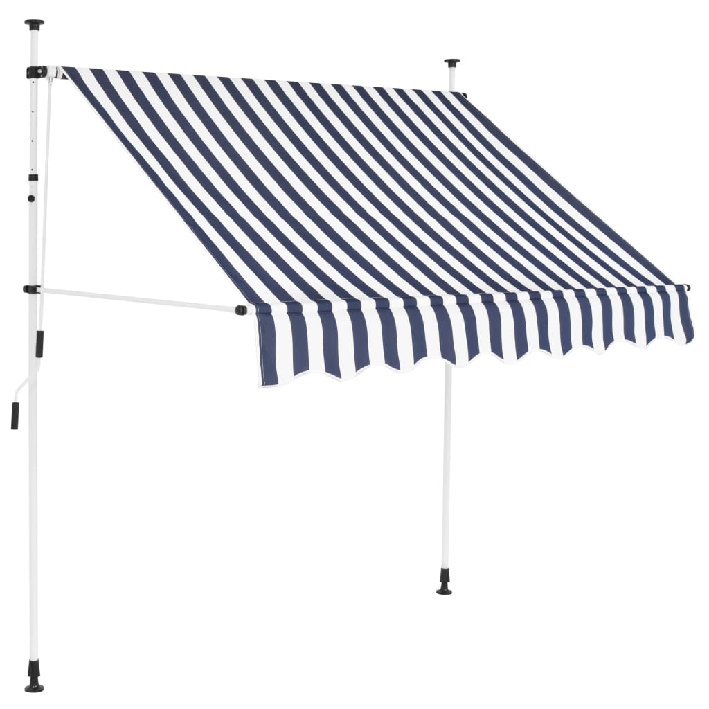 Manual Retractable Awning 200 cm Blue and White Stripes 1