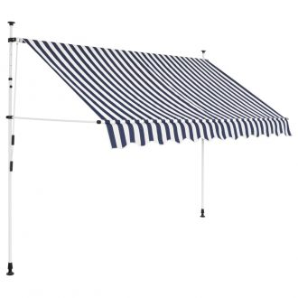 Manual Retractable Awning 250 cm Blue and White Stripes 1