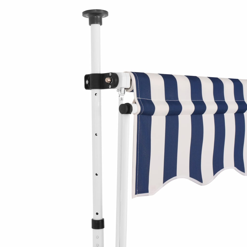 Manual Retractable Awning 250 cm Blue and White Stripes 2