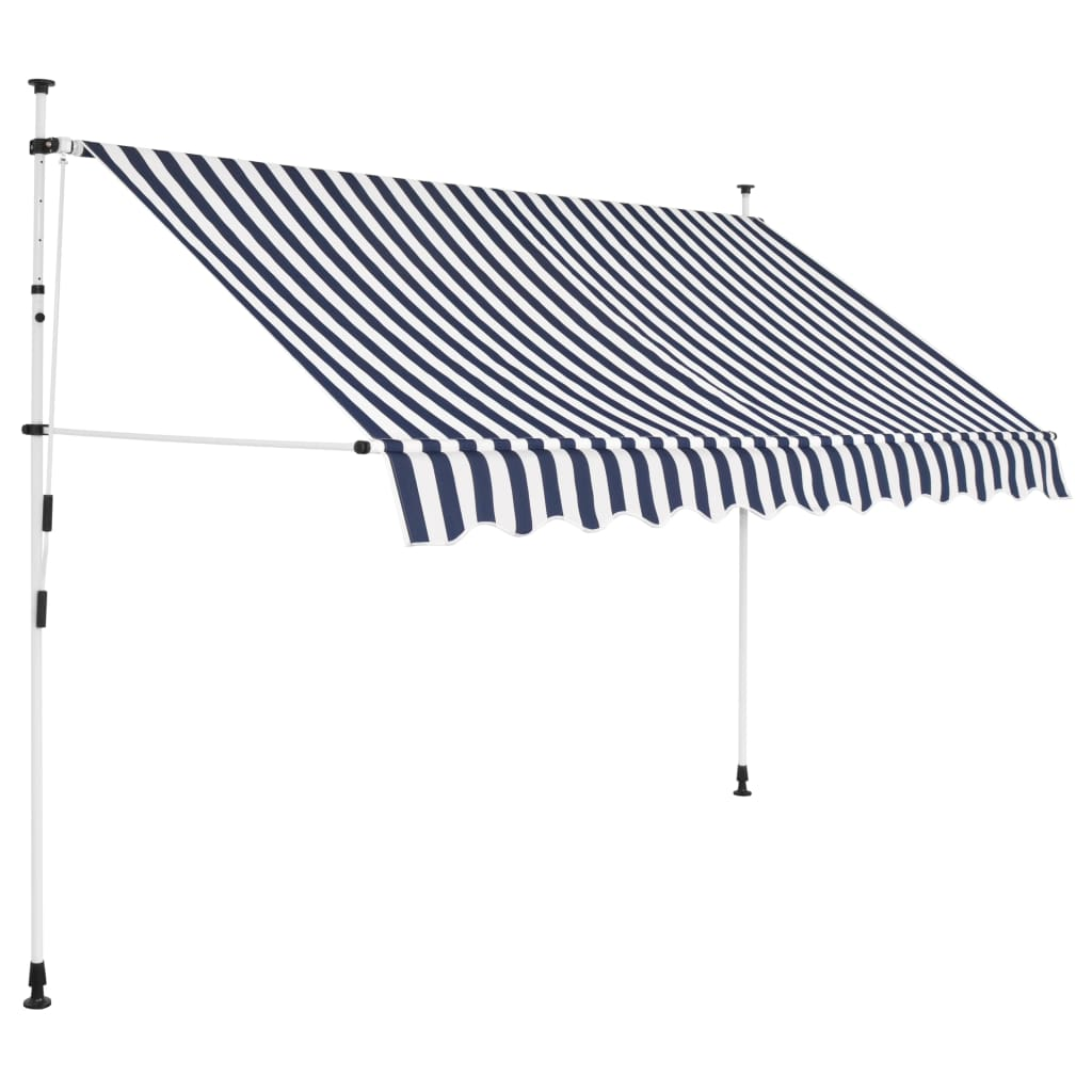 Manual Retractable Awning 300 cm Blue and White Stripes