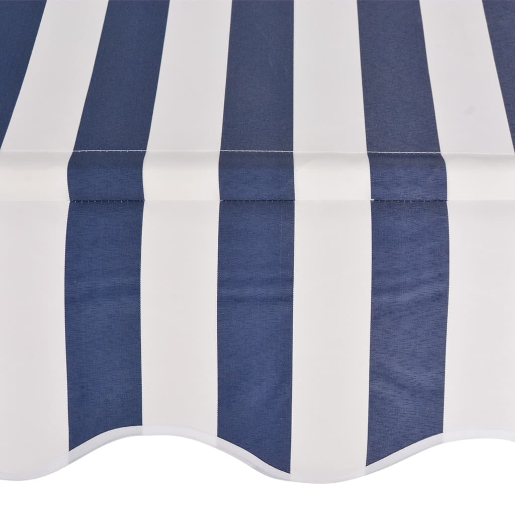Manual Retractable Awning 350 cm Blue and White Stripes 4