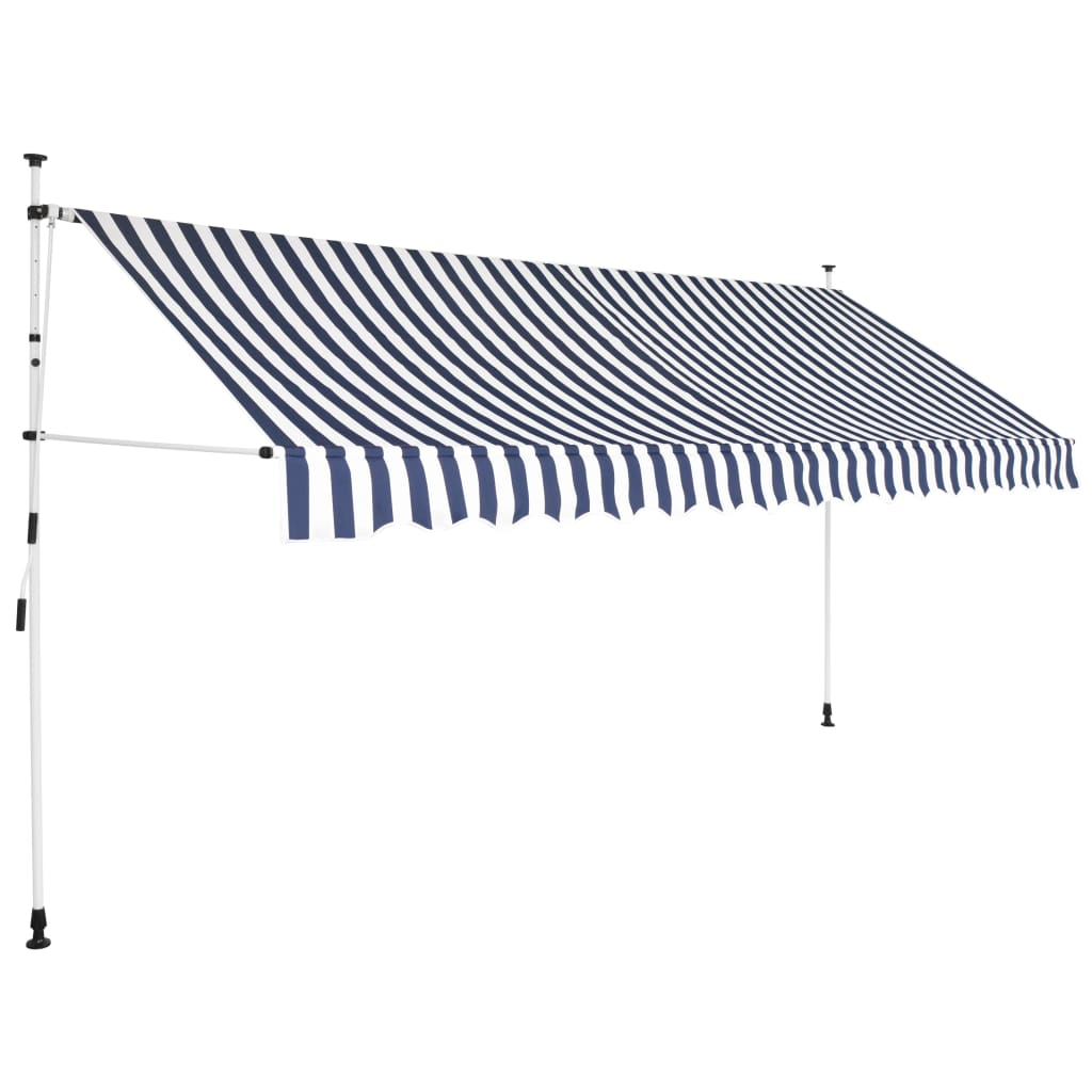 Manual Retractable Awning 400 cm Blue and White Stripes