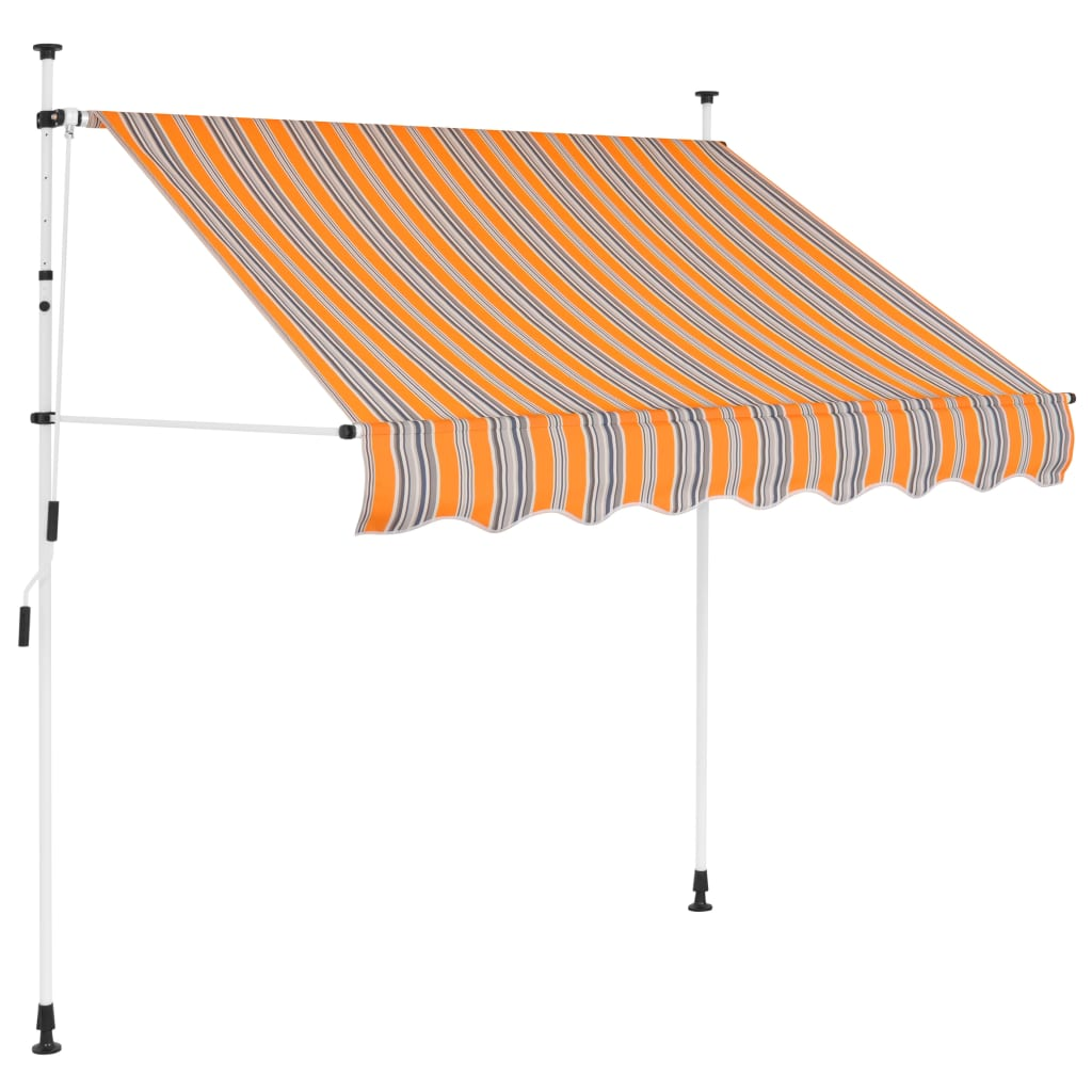 Manual Retractable Awning 200 cm Yellow and Blue Stripes 1