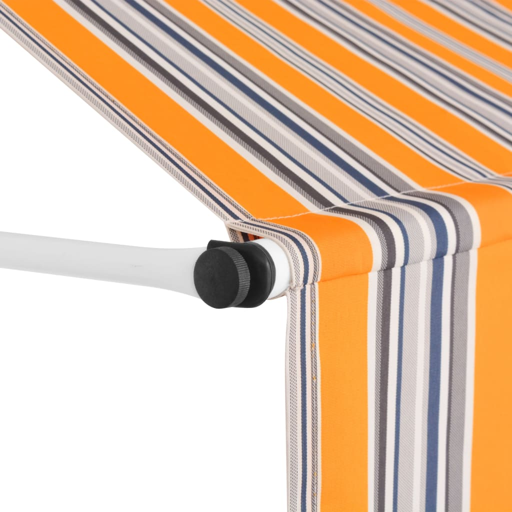 Manual Retractable Awning 200 cm Yellow and Blue Stripes 3