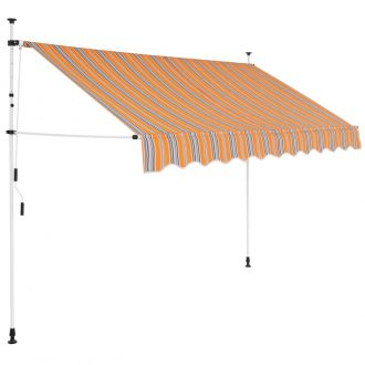 Manual Retractable Awning 250 cm Yellow and Blue Stripes 1