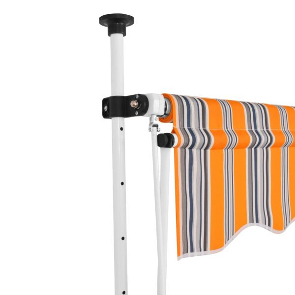 Manual Retractable Awning 350 cm Yellow and Blue Stripes 2