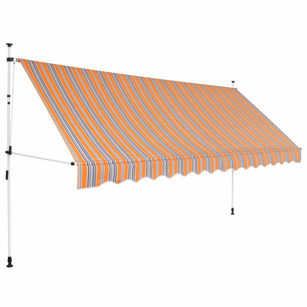 Manual Retractable Awning 400 cm Yellow and Blue Stripes 1