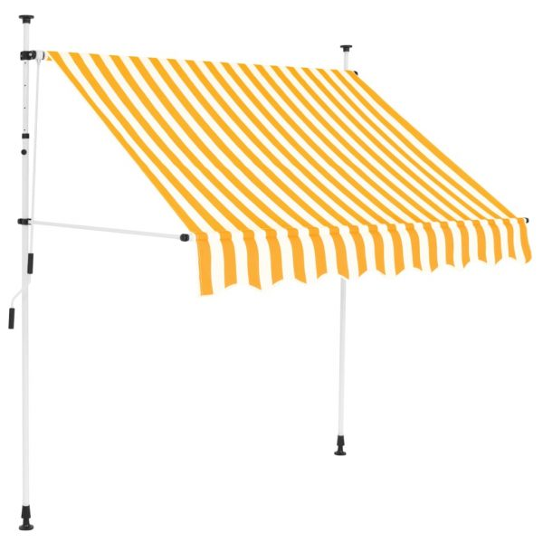Manual Retractable Awning 200 cm Yellow and White Stripes 1